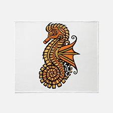 Steampunk Seahorse Throw Blanket
