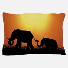 African Sunset Elephants Pillow Case