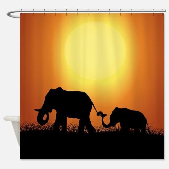 African Sunset Elephants Shower Curtain