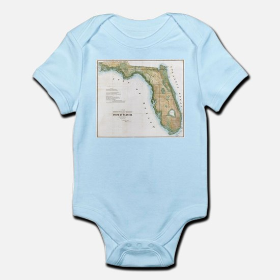 Vintage Map of Florida (1848) Body Suit