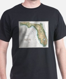 Vintage Map of Florida (1848) T-Shirt