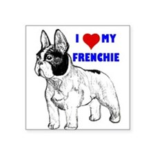 "Cute French bull dogs Square Sticker 3"" x 3"""