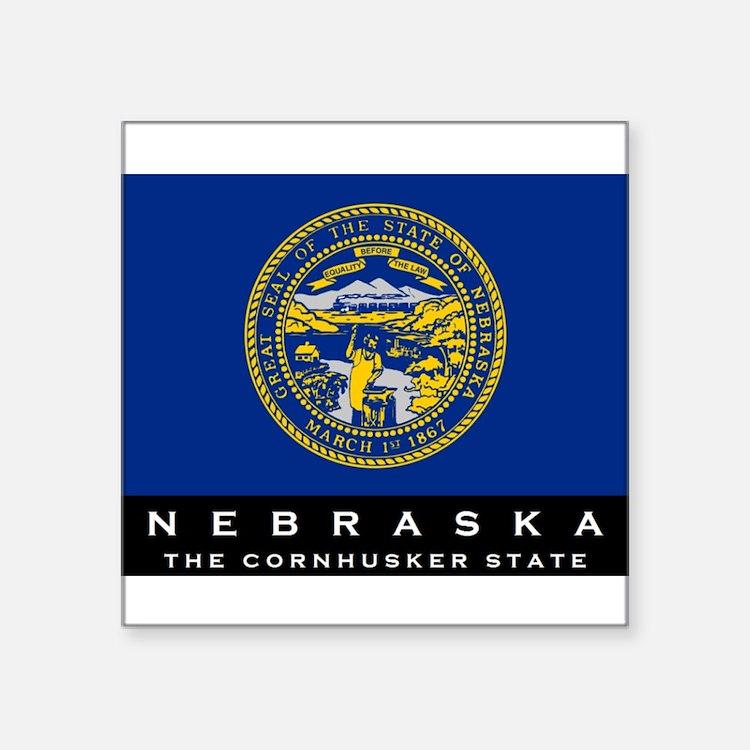 """Cute Nebraska state flag Square Sticker 3"""" x 3"""""""