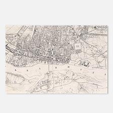 Vintage Map of Warsaw Pol Postcards (Package of 8)
