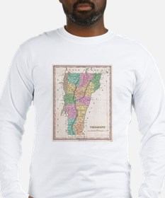 Vintage Map of Vermont (1827) Long Sleeve T-Shirt