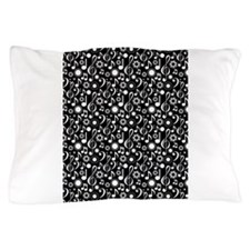 Cool Musical notes black Pillow Case