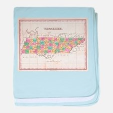 Vintage Map of Tennessee (1827) baby blanket