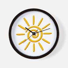 3D Yellow Sun Drawing Wall Clock