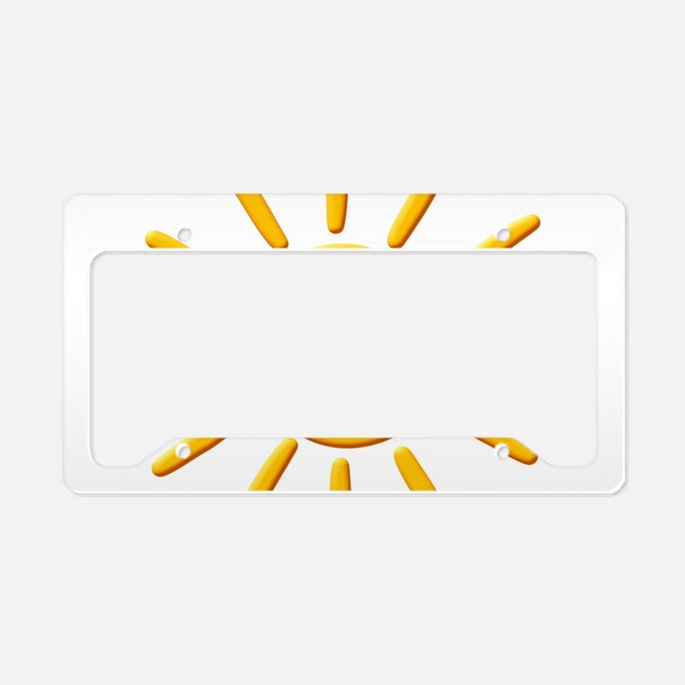 3D Yellow Sun Drawing License Plate Holder