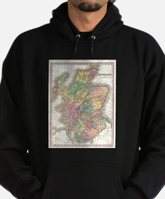 Vintage Map of Scotland (1827) Hoodie (dark)