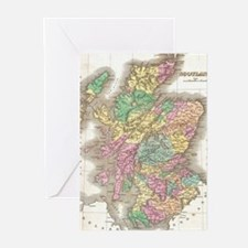 Vintage Map of Scotland (1827) Greeting Cards