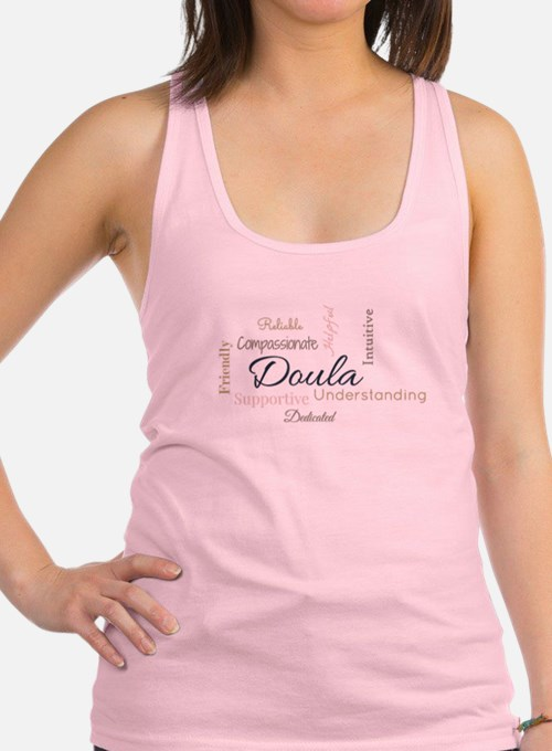 Birth Doula Word Cloud (Colored Racerback Tank Top