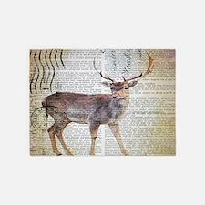 vintage scripts wild deer 5'x7'Area Rug