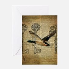 vintage rustic western duck Greeting Cards