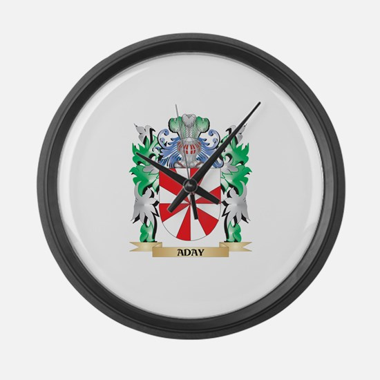 Aday Coat of Arms - Family Crest Large Wall Clock