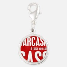 Sarcasm and Sass Silver Round Charm