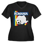 Romania Soccer Women's Plus Size V-Neck Dark T-Shi
