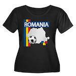 Romania Soccer Women's Plus Size Scoop Neck Dark T