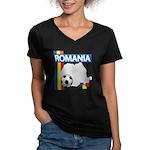 Romania Soccer Women's V-Neck Dark T-Shirt