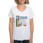 Romania Soccer Women's V-Neck T-Shirt
