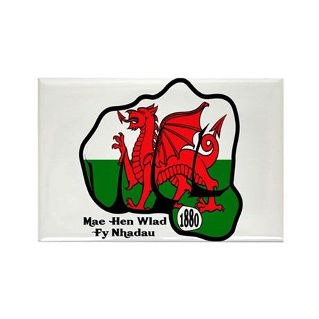 Wales Fist 1881 Rectangle Magnet (100 pack)