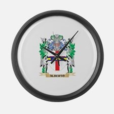 Alberto Coat of Arms - Family Cre Large Wall Clock