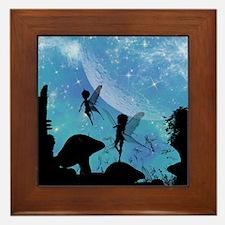 Wonderful fairy silhouette Framed Tile