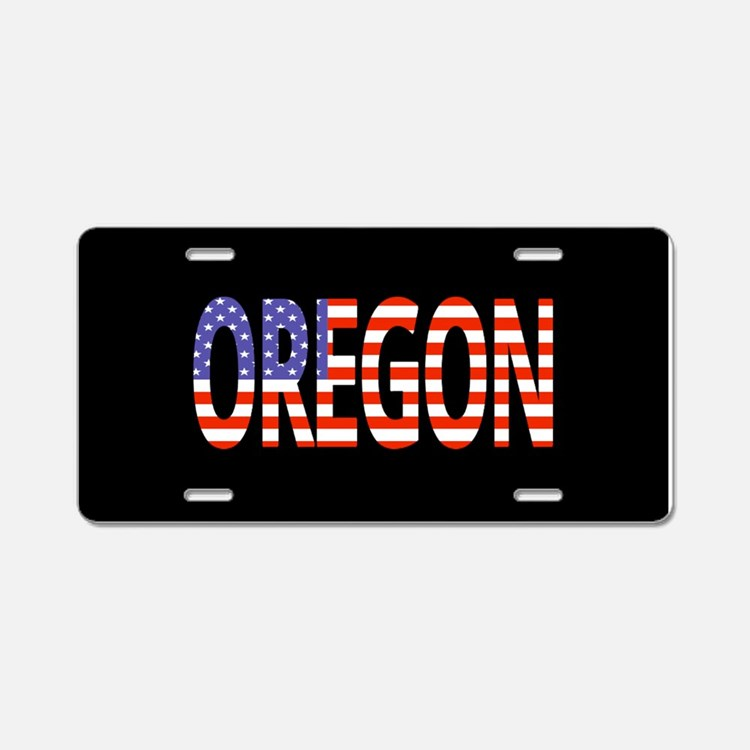 Patriotic Oregon Aluminum License Plate