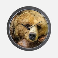 Lazy Grizzly Bear painting Wall Clock