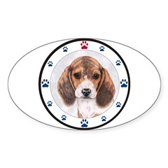 Beagle Dog Paws Oval Decal