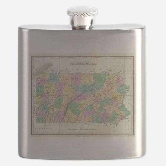 Vintage Map of Pennsylvania (1827) Flask