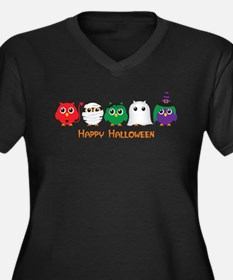 Cute Halloween Women's Plus Size V-Neck Dark T-Shirt