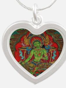 The Green Tara Silver Heart Necklace