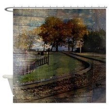 autumn railway  rural landscape  Shower Curtain