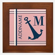 Navy Blue Anchor with Nautical Stripes Framed Tile