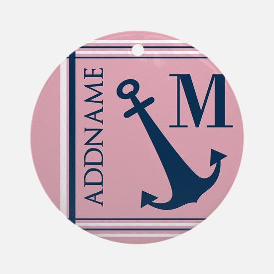 Navy Blue Anchor with Nautical Stri Round Ornament