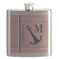 Navy Blue Anchor with Nautical Stripes Flask