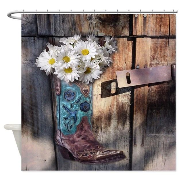 rustic western country cowboy boots Shower Curtain by ...