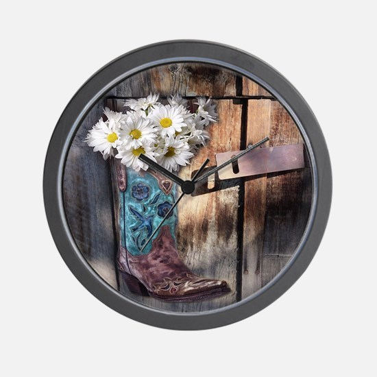 rustic western country cowboy boots Wall Clock