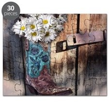rustic western country cowboy boots Puzzle