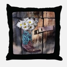 rustic western country cowboy boots Throw Pillow