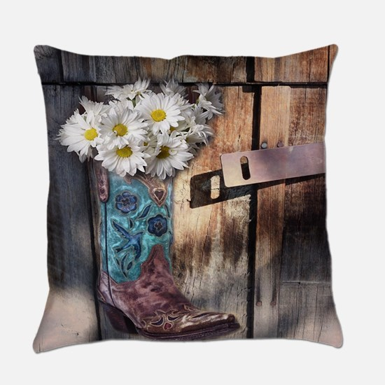 rustic western country cowboy boot Everyday Pillow