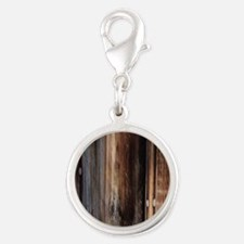 western country barn board Silver Round Charm