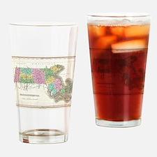 Vintage Map of Massachusetts (1827) Drinking Glass