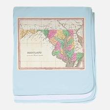 Vintage Map of Maryland (1827) baby blanket