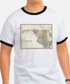 Vintage Map of Maryland (1827) T-Shirt