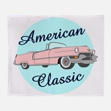 American Classic Cadillac in pink Throw Blanket