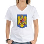 Romanian Coat of Arms Women's V-Neck T-Shirt