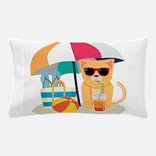 Cute Cool Cat at the beach Pillow Case