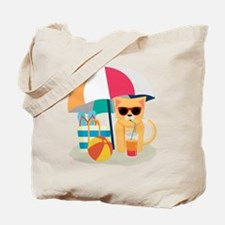 Cute Cool Cat at the beach Tote Bag